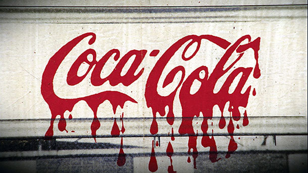 Coca-Cola written in blood