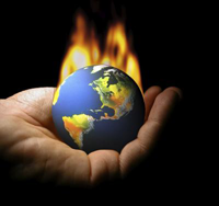 Earth on fire in human palm