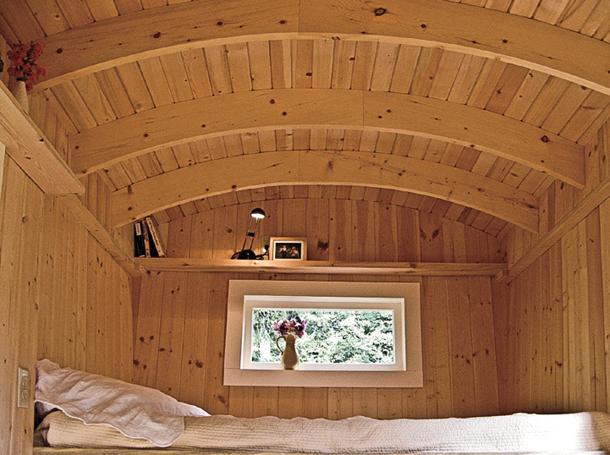 Sleeping quarters inside Michelle Wilson's caravan
