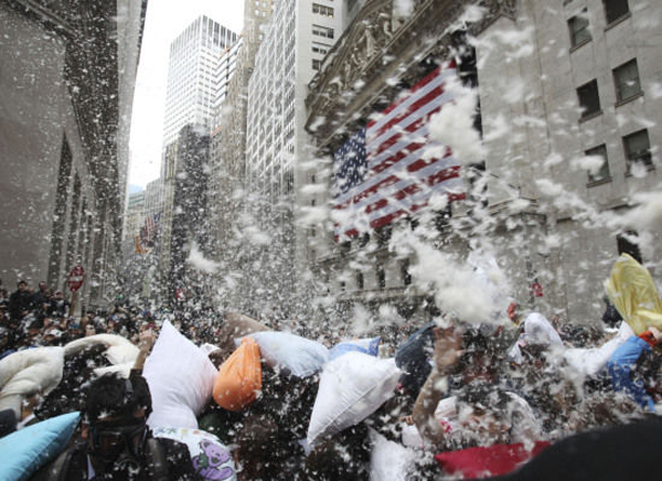 Pillow fight on Wall Street