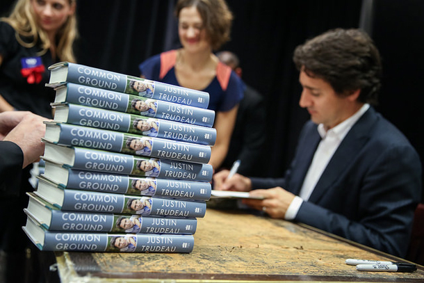 Justin Trudeau signs his autobiography, Common Ground