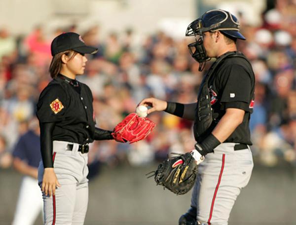 Female baseball player Eri Yoshida and catcher