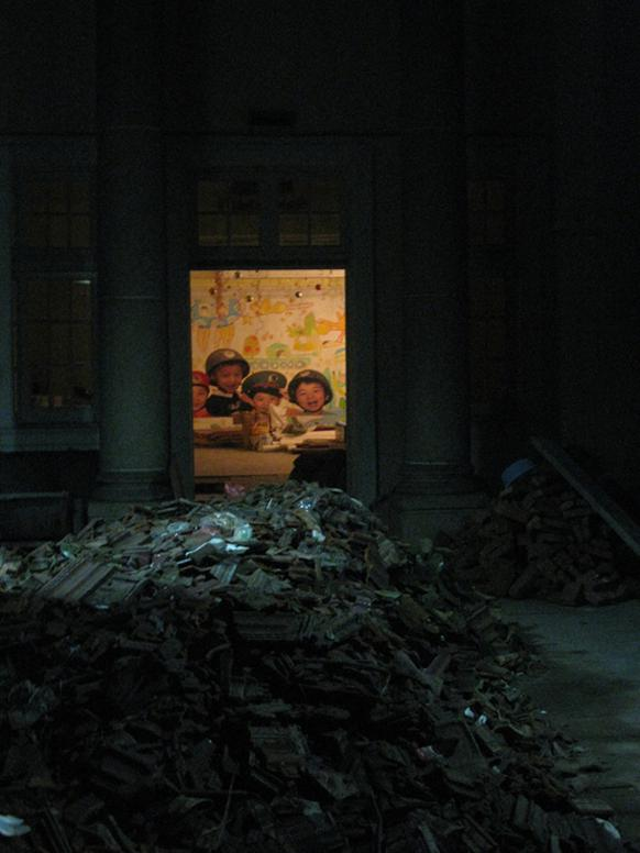 582px version of Poster in Shanghai of children in army uniforms