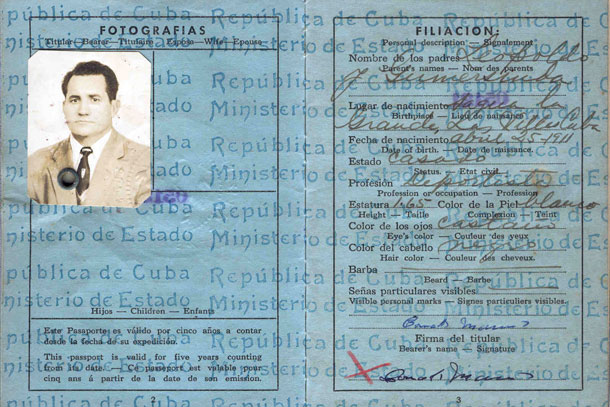 Baseball player Conrado Marrero's passport