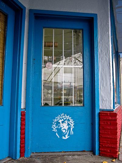 Door with Jesus face