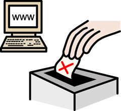 Illustration of computer and ballot box