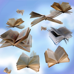 Books thrown in the air