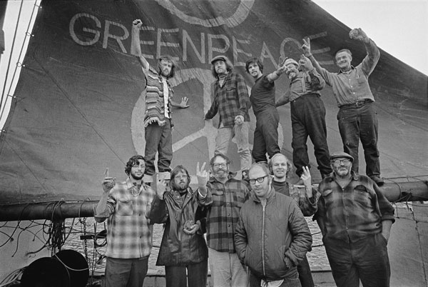Crew of first Greenpeace campaign, 1971.