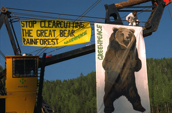 Greenpeace climbers hang a banner from a logging crane, 1997