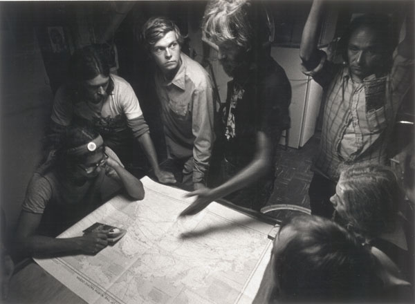 Bob Hunter with crew on the ship, James Bay. Greenpeace, early campaign