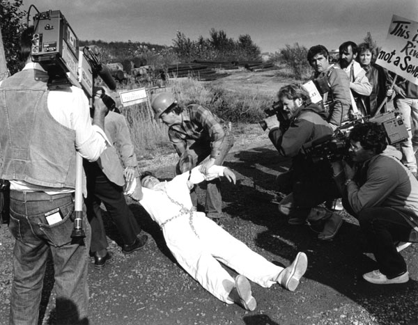 Greenpeace action in 1985 to stop toxic dumping in U.S. rivers.