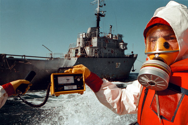 Greenpeace activists confront a ship dumping nuclear waste in the ocean, 1993.