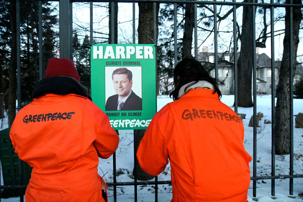 Greenpeace protest Stephen Harper on Climate Change Policies