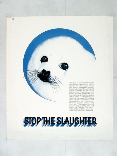 Early Greenpeace seal poster, 400px
