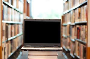 Laptop in the library