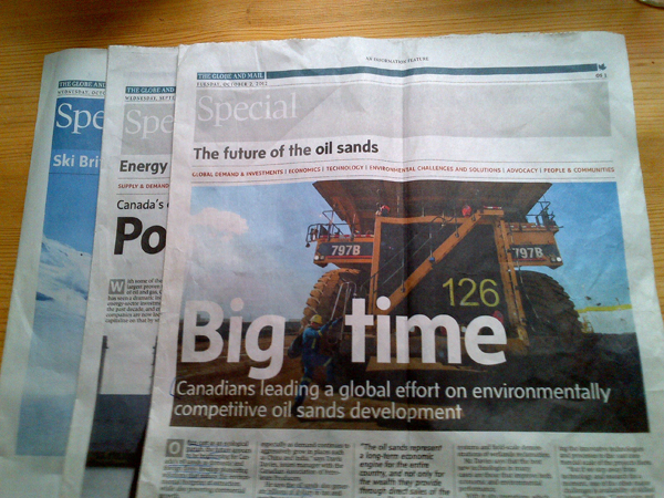 Globe and Mail oil sands advertorial