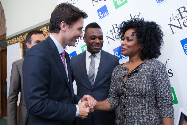 Justin Trudeau with the cast of CBC's 'The Book of Negroes'