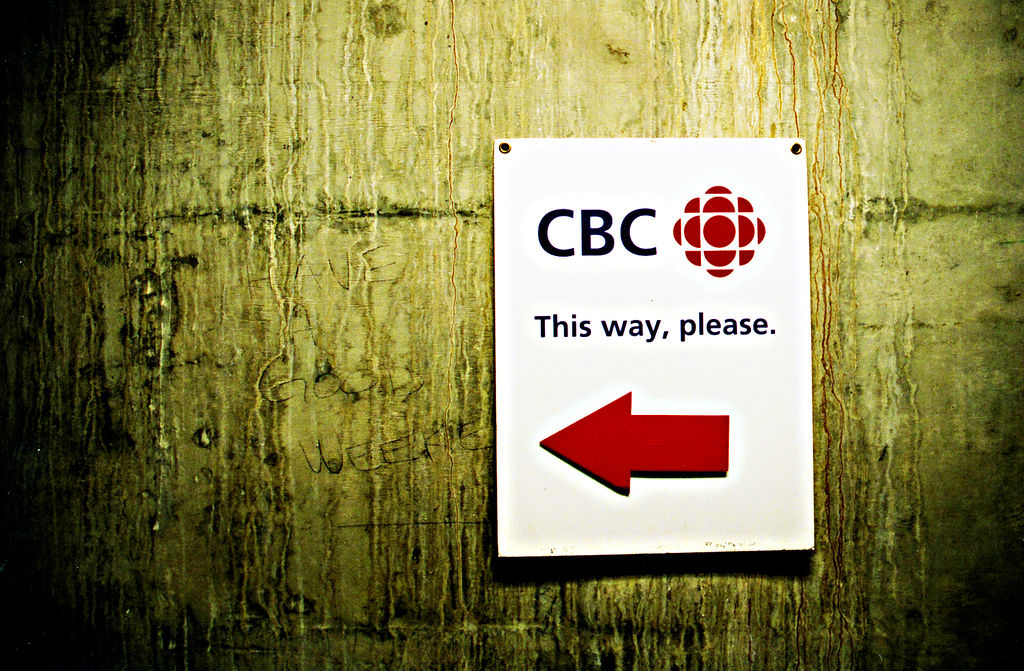 CBC 'This way please' sign