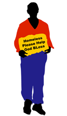 Homeless man vector graphic