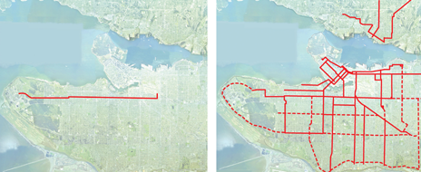 Transit maps for skytrain and trams