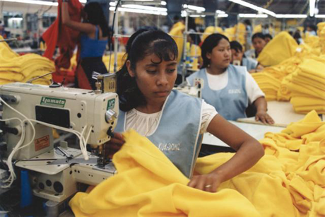 Sweatshop in Mexico working on athletic apparel