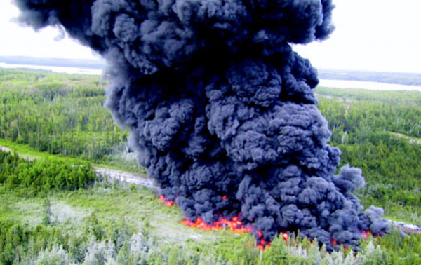 Controlled burn of an Enbridge pipeline