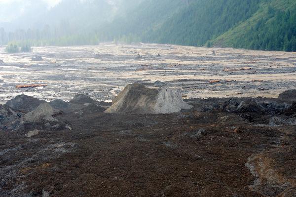 Glacier on valley bottom after landslide