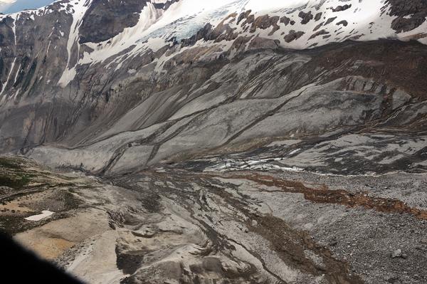 Slide tracks after Meager Creek landslide