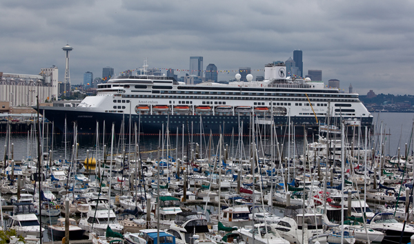 Holland America cruise ship docked in Seattle