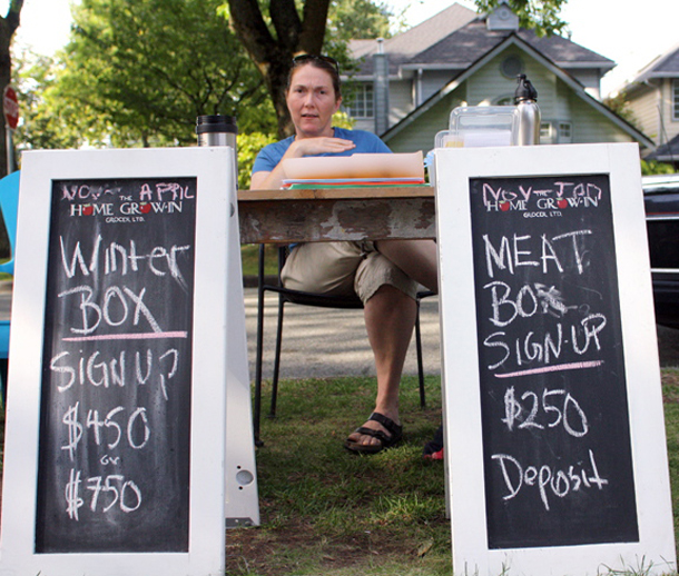 Vancouver food co-op sign-up boards