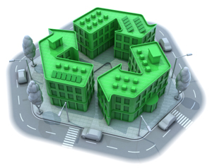 Buildings in shape of Recycle symbol