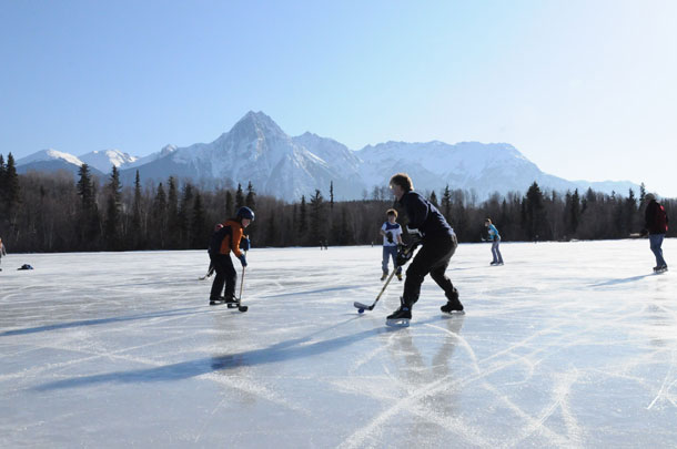 Hockey players in Hazelton, BC