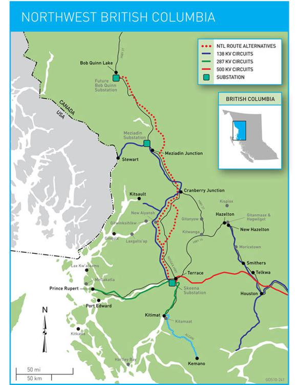 582px version of Map of Northwest Transmission Line