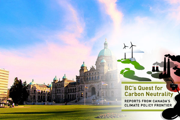 BC Legislature with Quest for Carbon Neutrality series logo