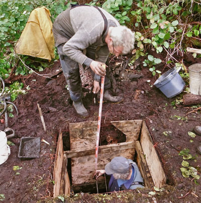 Archaeologist on BC Central Coast in pit