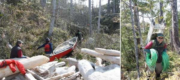 Archaeologist with canoe and ladder on Central Coast