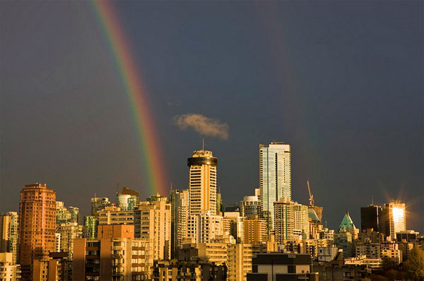 A rainbow over Vancouver
