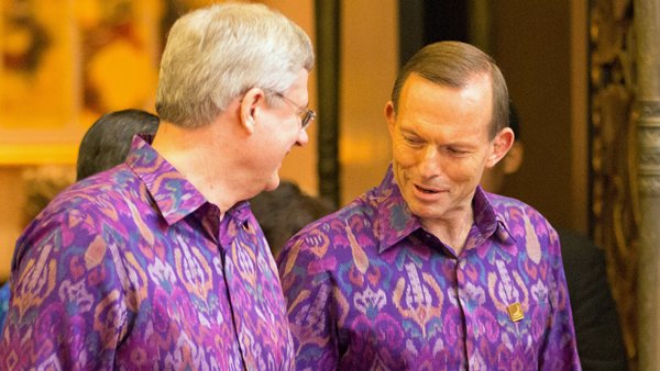 PMs Stephen Harper and Tony Abbott