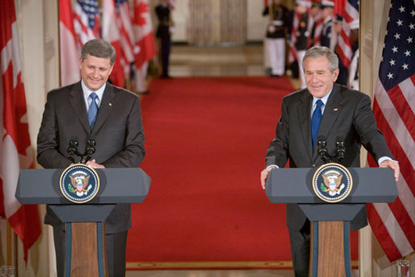 Stephen Harper and George W. Bush