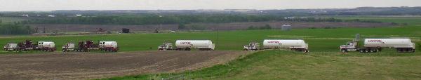 Fracking trucks in Alberta