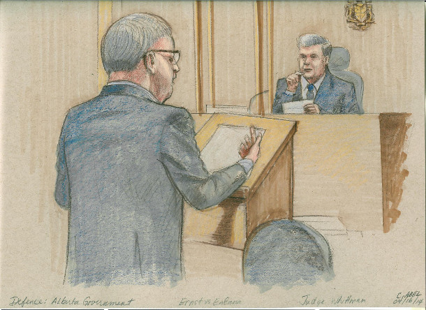 Court sketch, Ernst v. Alberta Government