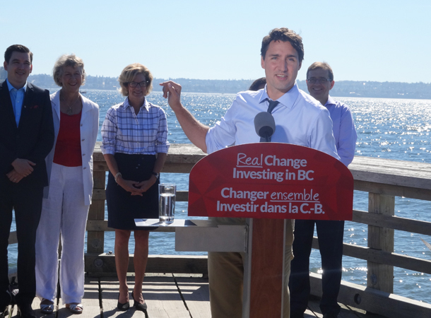Justin Trudeau points to Stanley Park