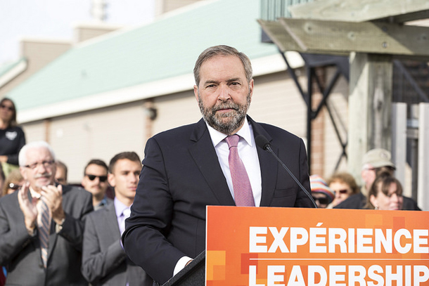Mulcair campaigning in 2015