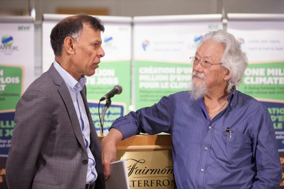 582px version of Canadian Labour Congress president Hussan Yussuff and environmentalist David Suzuki