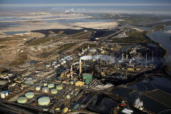 582px version of Aerial of Suncor refinery operations