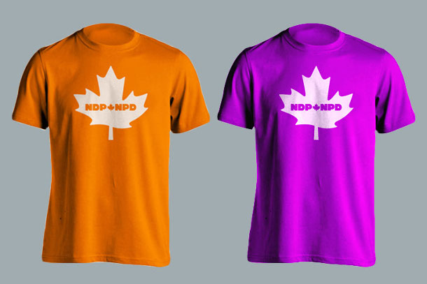 NDP orange and purple shirts