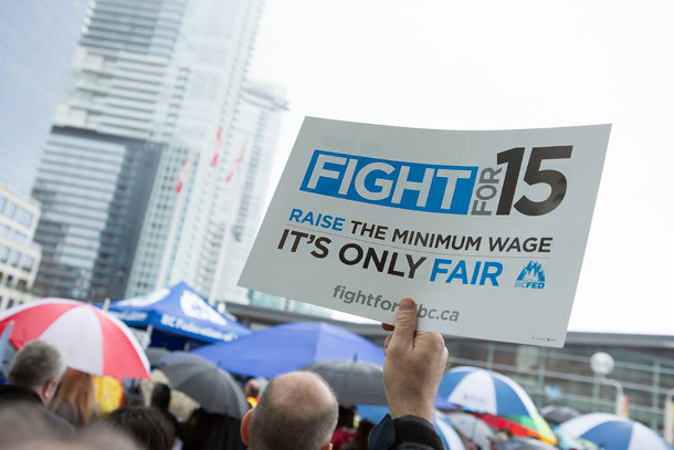 'Fight for 15' sign