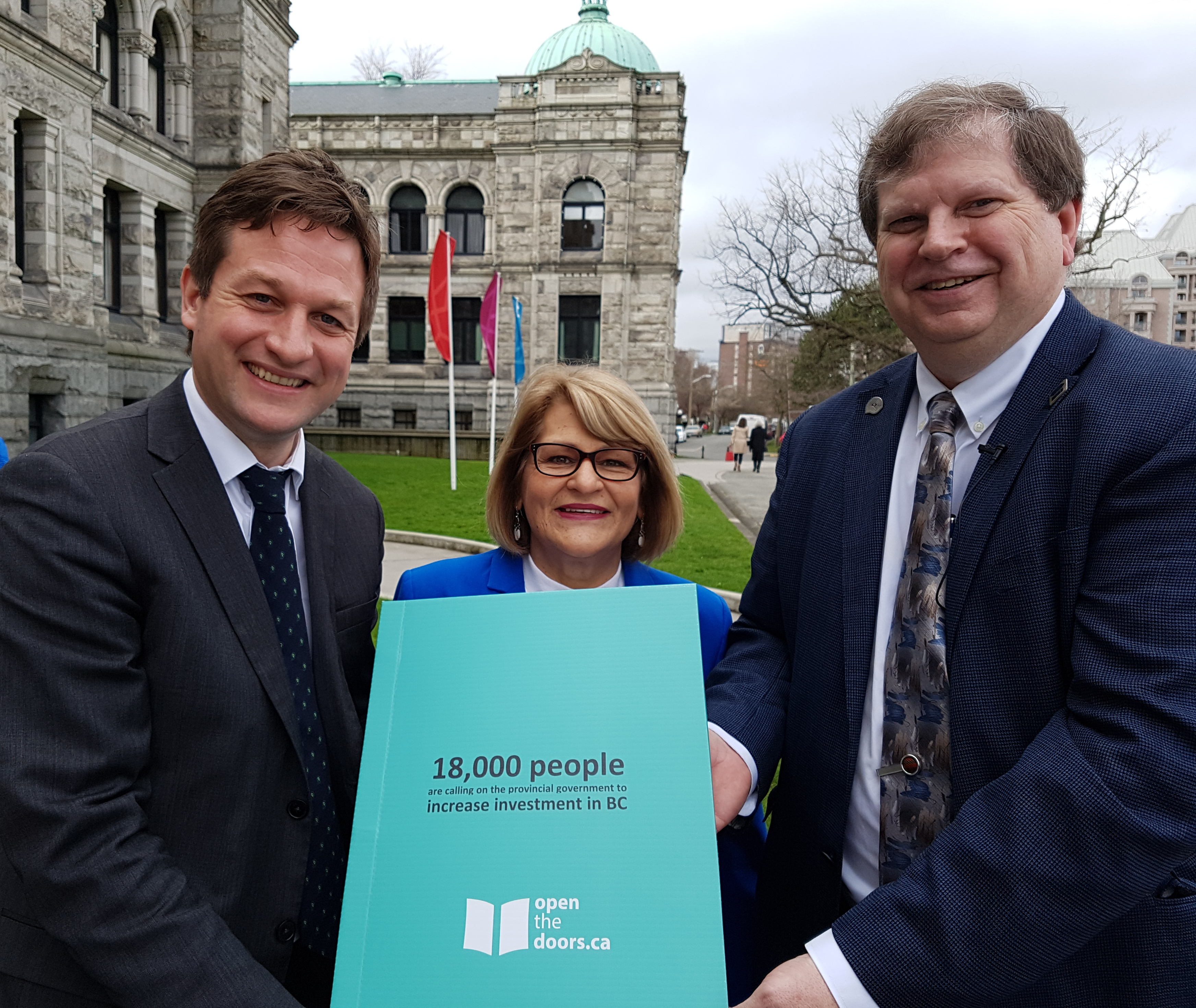 NDP MLA Rob Fleming with Terri Van Steinburg and George Davison