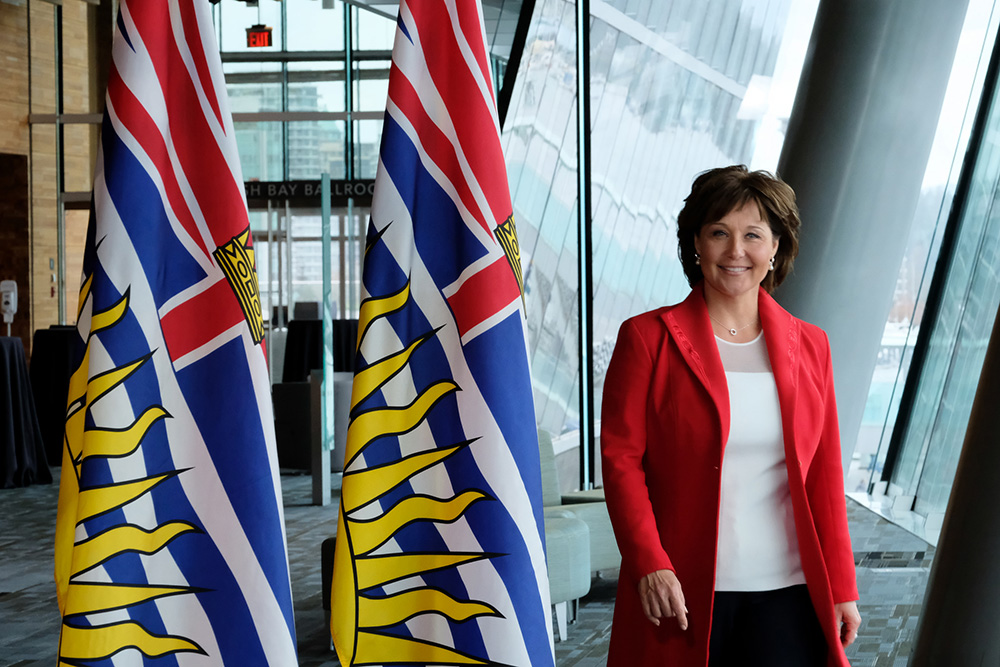 ChristyClarkBCFlags.jpg