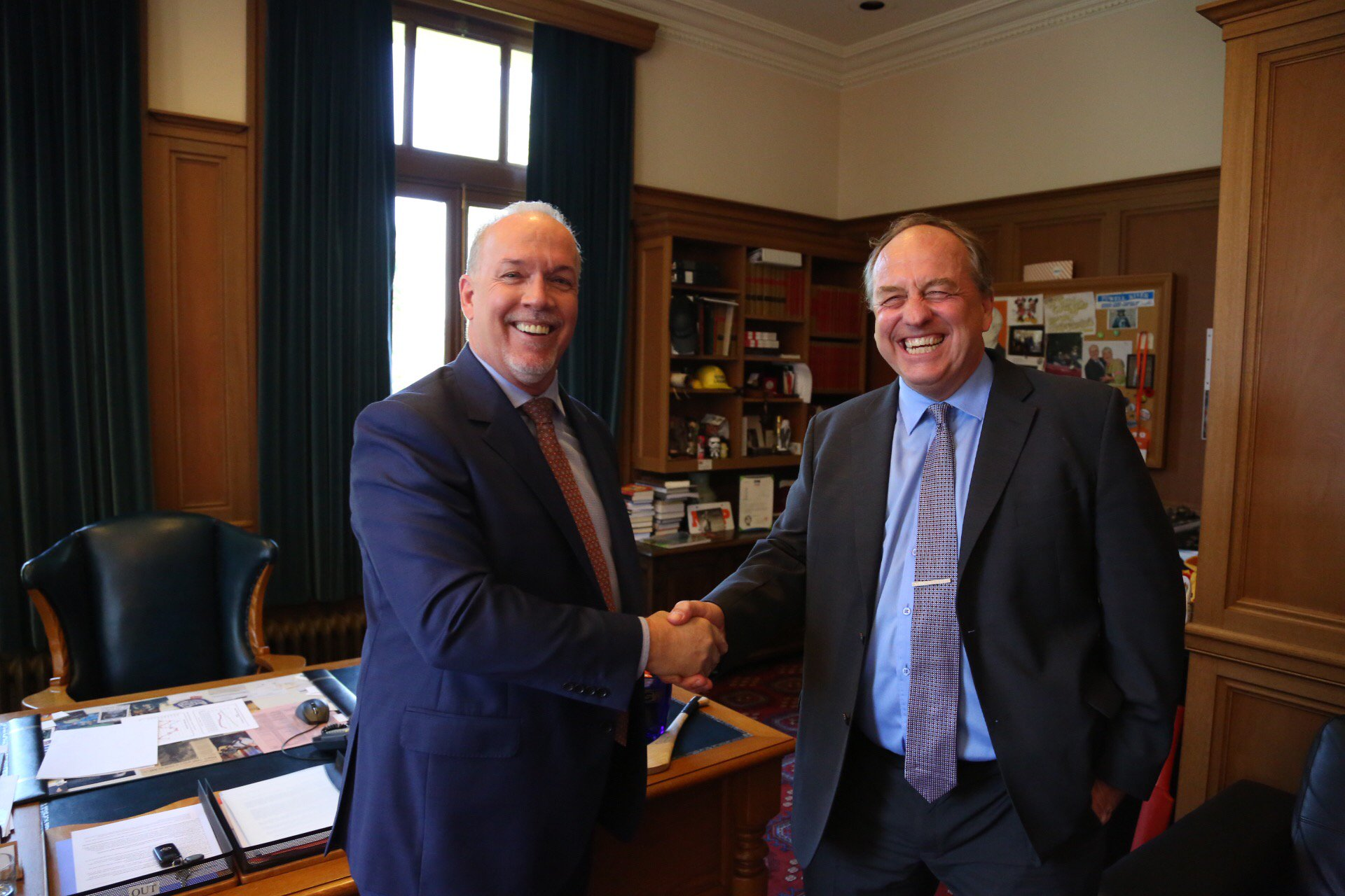 John Horgan and Andrew Weaver handshake